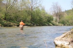 Kurz unterhalb der Brücke Empfing: Frühling, Fliegenfischer und ...Forellen!