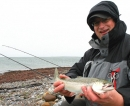 Hier angelt der Chef: Frank Naubereit mit hart erkämpfter Meerforelle bei Windstärke 6